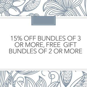 15% off Bundles of 3.  Free Gift with 2 +